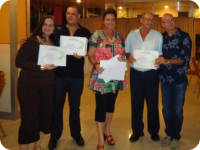 Management staff posing with HACCP certificates